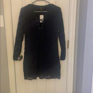 Lace navy dress